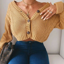 Load image into Gallery viewer, Women Knitted Cropped Cardigan Sweaters Female Short Coat V Neck Single Breasted Knitwear Spring Autumn Solid Shawl Jacket