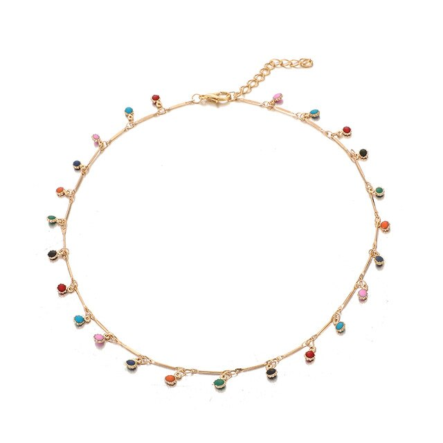 Tocona Bohemian Gold Necklace for Women Charming Colorful Stone Chain Chockers Handmade Party Jewelry Wholesale collares B31203