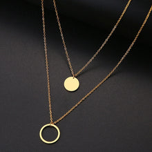 Load image into Gallery viewer, DOTIFI For Women Double Round Geometric Pendant Necklace Stainless Steel Gold and Silver Color Jewelry Gift