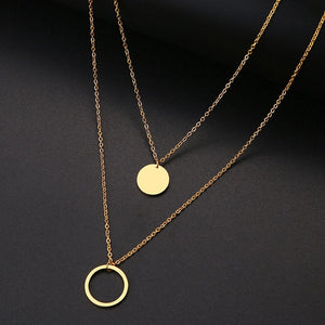 DOTIFI For Women Double Round Geometric Pendant Necklace Stainless Steel Gold and Silver Color Jewelry Gift