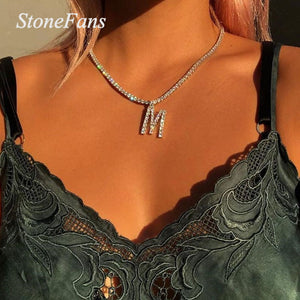 Stonefans 26 Alphabet Rhinestone Letter Necklace Chain Women Statement Word Crystal Choker Pendant Necklace Collar Jewelry