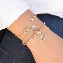 Load image into Gallery viewer, 2020 Boho Gold Cuff bracelets Set For women Leaves Knot charm Delicate chains Party Wedding Jewelry Accessories