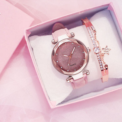 Women Watch Rhinestone Romantic Starry Sky WristWatch Fashion Ladies Leather Watch Clock for Women Relogio Feminino Montre Femme