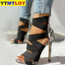 Load image into Gallery viewer, Snake Summer Shoes Woman Pumps High Thin Heels Pointed Toe Rhinestone Gladiator Pumps Party Sexy Shoes Prom Shoes