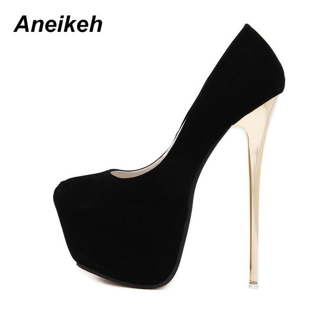 Aneikeh Big Size 41 42 43 44 45 Sexy Pumps Wedding Women Fetish Shoes High Heel Stripper Flock Pumps 16 cm Zapatos Mujer