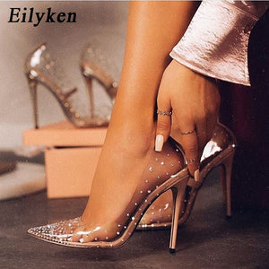 Eilyken Fashion Rhinestones PVC Transparent Pumps Stilettos High Heels Point Toes Womens Party Golden Wedding High heels shoes
