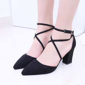 2020 Sandalias femeninas high heels Autumn Flock pointed sandals sexy high heels female summer shoes Female sandals mujer s040
