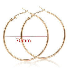 Load image into Gallery viewer, 40mm 60mm 70mm 80mm Exaggerate Big Smooth Circle Hoop Earrings Brincos Simple Party Round Loop Earrings for Women Jewelry