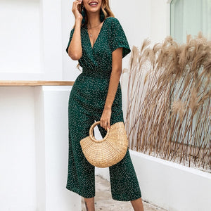 Lossky Women Jumpsuits Rompers Summer Casual Print V-neck Pocket Overalls Jumpsuit Short Sleeve Wide Leg Loose Jumpsuit