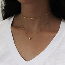 Load image into Gallery viewer, Simple Fashion Female Clavicle Pendant Peach Heart Multi-Layer Clavicle Neck Chain Necklace Heart-Shaped Pendant