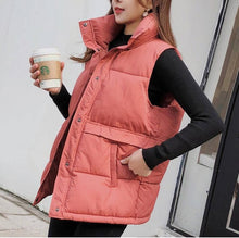 Load image into Gallery viewer, Brieuces Women's Korean Style Solid Sleeveless Winter Keep Warm Winter Vest Coat Single Women Breasted Loose Thick Fashion Vest