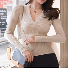 Load image into Gallery viewer, 2020 New Sexy Deep V Neck Sweater Women's Pullover Casual Slim Bottoming Sweaters Female Elastic Cotton Long Sleeve Tops Femme