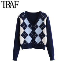 Load image into Gallery viewer, TRAF Women Cardigan Vintage Stylish Geometric Pattern Short Knitted Sweater Fashion Long Sleeve England Style Outerwear Chaqueta