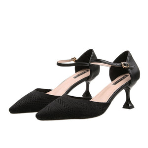 Red Black Pointed Toe Fetish Luxury Designer Woman Extreme Mules Super High Heels Women Sexy Shoes Ladies Pumps Flying weaving