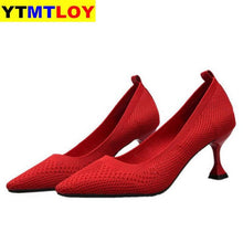 Load image into Gallery viewer, Red Black Pointed Toe Fetish Luxury Designer Woman Extreme Mules Super High Heels Women Sexy Shoes Ladies Pumps Flying weaving