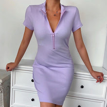 Load image into Gallery viewer, Women Winter Fall Bodycon Ribbed Dress 2020 New Stand Collar Zipper Deep V-neck Solid Stretch Bodycon Pencil Party Mini Vestido