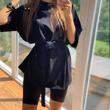 Load image into Gallery viewer, Simplee Casual solid outfits women's two piece suit with belt Home loose sports tracksuits fashion leisure bicycle suit summer