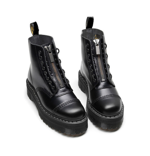 Size35-41 Chunky Motorcycle Boots For Women Autumn 2019 Fashion Round Toe Lace-up Combat Boots Ladies Shoes