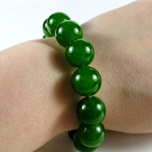 8mm 10mm Classic Real Natural Green Jade Beads Bracelet Bangle Handmade Elastic Rope Emerald Bracelets For Women Fine Jewelry