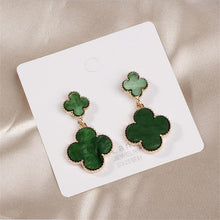 Load image into Gallery viewer, Popular European and American new four-leaf clover pendant ladies temperament earrings
