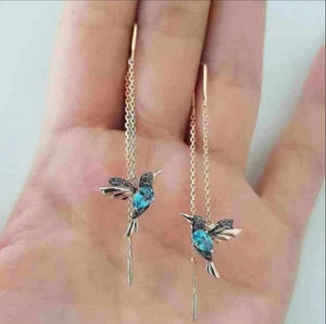 CHUHAN Unique Long Drop Earrings Bird Pendant Tassel Crystal Pendant Earrings Ladies Jewelry Design for Anniversary Party