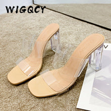 Load image into Gallery viewer, Transparent High Heels Women Square Toe Sandals Summer Shoes Woman Clear High Pumps Wedding Jelly Buty Damskie Heels Slippers