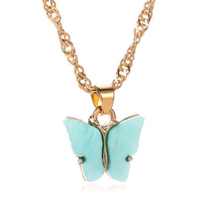 Sweet Acrylic Color Butterfly Necklace For Women Long Wild Clavicle Chain Pendant Refined Stylish Mujer Gift 2020 Trendy Gold
