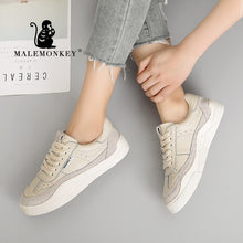 Load image into Gallery viewer, MALEMONKEY  Hot Women Sneakers Lace-up Casual Flat Ladies Shoes White 2020 Summer Fashion Breathable Comfort Women Shoes 831645