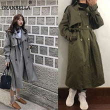Load image into Gallery viewer, Fashion Fall Winter 2020 casual cotton trench coat with sashes oversize vintage long coats overcoats