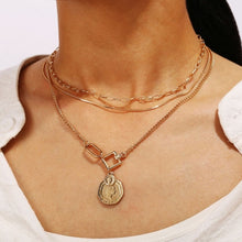 Load image into Gallery viewer, 2020 New Bohemia Vintage Crystal Geometric Star Necklace For Women Fashion Gold Color Chain Boho Heart Pendant Necklaces Jewelry