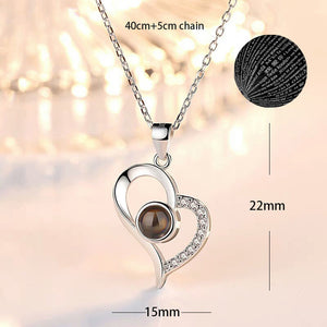 100 Languages Love Necklace Heart Pendant Wedding Romantic I Love You Projection Necklace for Women Girl Friend Ladies Gifts