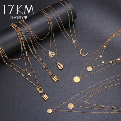 Vintage Star Lock Necklace For Women BOHO Bijoux Coin Moon Pendants Necklaces 2020 Bead Choker Female Fashion  Jewelry