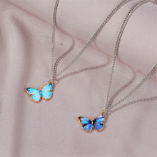 Load image into Gallery viewer, Korean Blue Gradient Butterfly Necklace for Women Girls Silver Color Rainbow Butterflies Pendant Choker Necklaces Jewelry Gift