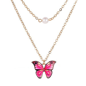 Korean Blue Gradient Butterfly Necklace for Women Girls Silver Color Rainbow Butterflies Pendant Choker Necklaces Jewelry Gift