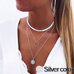 Necklace Womans Multilayer Necklaces For Women Jewelry Gold Colors Korean Trendy High Quality Metals Geometric Collares Mujer