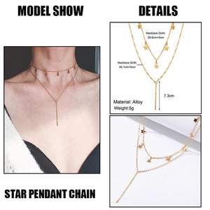 IF ME Fashion Multilayer Star Map Chain Necklaces for Women Moon Heart Pearl Crystal Necklace Pendant Choker Jewelry 2020 New