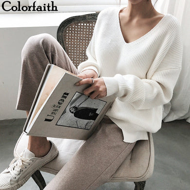 Colorfaith 2020 Autumn Winter Women's Knitwear sexy V-Neck Minimalist Tops Korean Irregular Hem Knitted Casual Sweaters SW8112