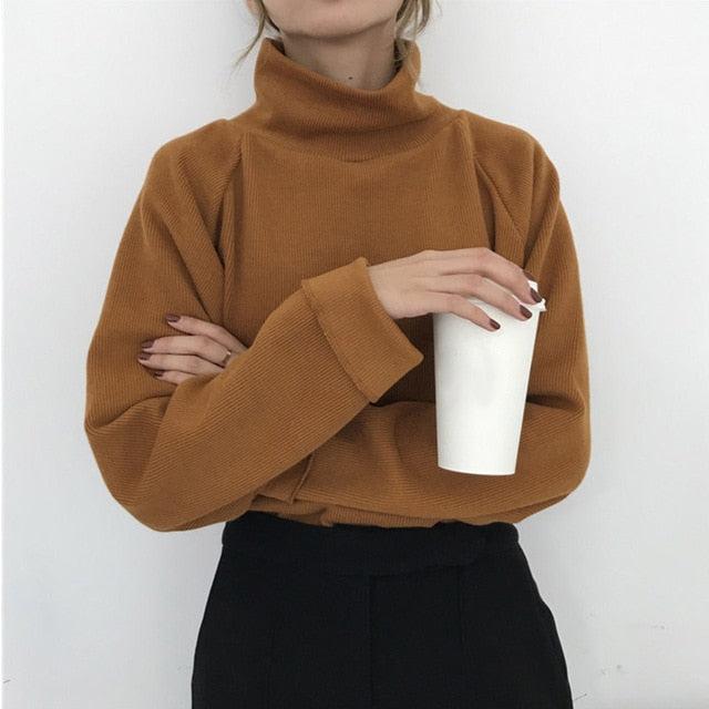 AECU11 Turtleneck sweater autumn winter Knitted Jumper Women's Sweaters Casual Loose Long Sleeve jacket Pullovers female