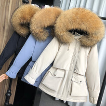 Load image into Gallery viewer, Large Natural Raccoon Fox Fur Hooded Winter Down Coat Women 90% White Duck Down Jacket Thick Warm Parkas Female Outerwear