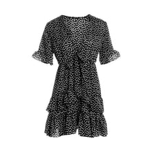 Load image into Gallery viewer, hirigin 2020 Women Dress Boho Floral Ruffle Short Mini Dress Summer Knot Sexy V-Neck Party Holiday Dress Femme vestido de mujer