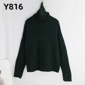 Aachoae Autumn Winter Women Knitted Turtleneck Cashmere Sweater 2020 Casual Basic Pullover Jumper Batwing Long Sleeve Loose Tops