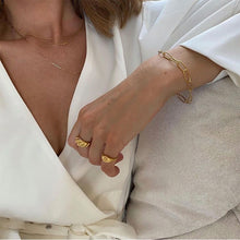 Load image into Gallery viewer, Peri'sBox Gold Silver Color Twisted Croissants Rings Threads Geometric Rings for Women Minimalist Chunky Rings Vintage Jewelry