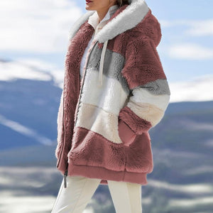 2020 Winter Women's Coat Fashion Casual Stitching Plaid Ladies Clothes Hooded Zipper Ladies Coat Lamb Hair women jacket