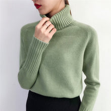 Load image into Gallery viewer, SURMIITRO Cashmere Knitted Sweater Women 2020 Autumn Winter Korean Turtleneck Long Sleeve Pullover Female Jumper Green Knitwear