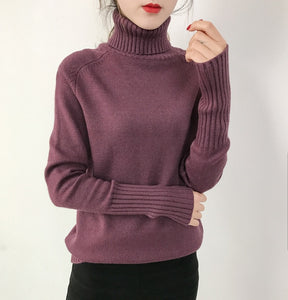 SURMIITRO Cashmere Knitted Sweater Women 2020 Autumn Winter Korean Turtleneck Long Sleeve Pullover Female Jumper Green Knitwear