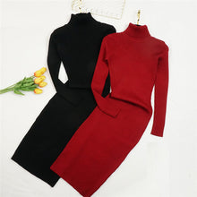 Load image into Gallery viewer, New Autumn Winter Women Knitted Dress Turtleneck Sweater Dresses Lady Slim Bodycon Long Sleeve Bottoming Dress Vestidos PP003