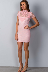PINK CROCHET MINI DRESS