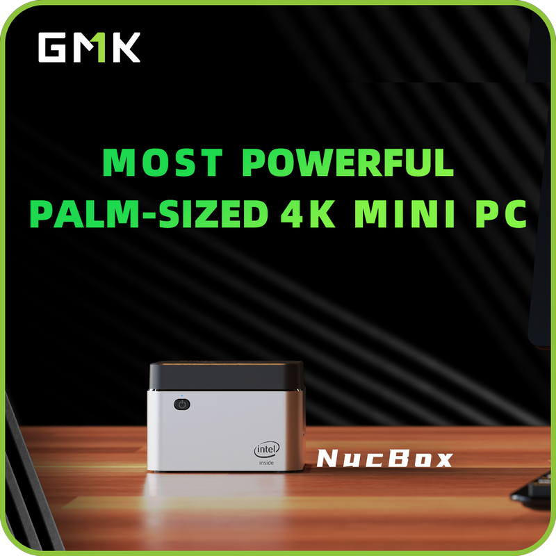 NucBox-- Most Powerful Palm-Sized 4K Mini PC--Palm-size & Lightweight | Intel 4-Core CPU | 8GB + Up to 512GB | Flexible I/O Ports | 4K UHD Output