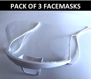 Clear plastic mask 3-pack