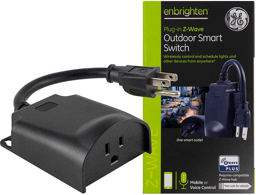GE Enbrighten Z-Wave Plus Smart Outdoor Switch, 1-Outlet Plug-In (2nd Gen.), Weather-Resistant - 14298